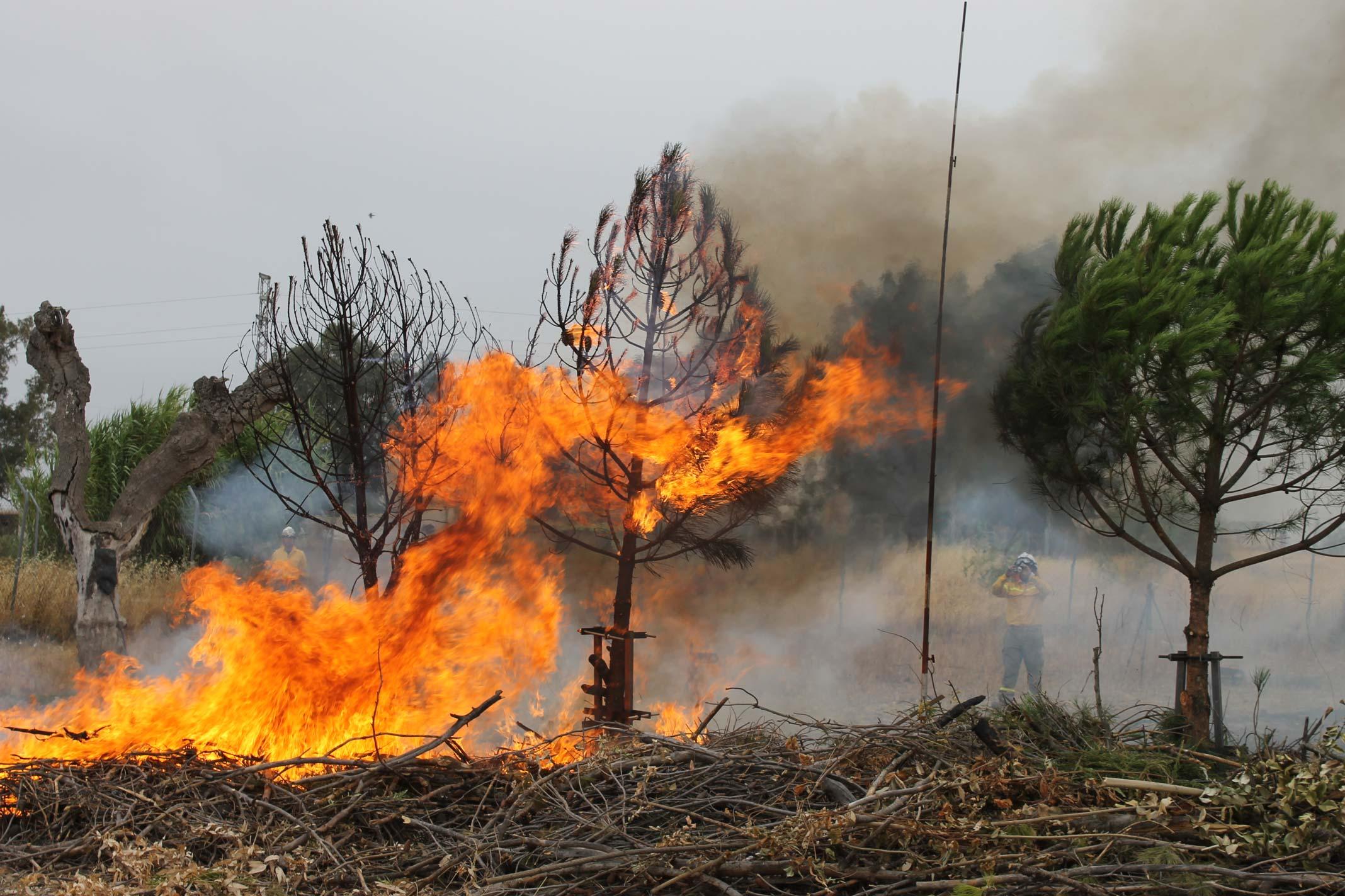 Foto1: Medición de la energía convectiva y radiante en la propagación del fuego.